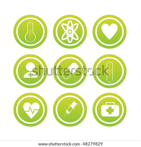 set of 9 green medical signs