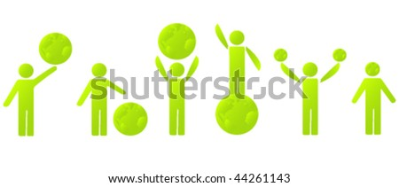 Set of Green Men with Planet, Green Earth Concept