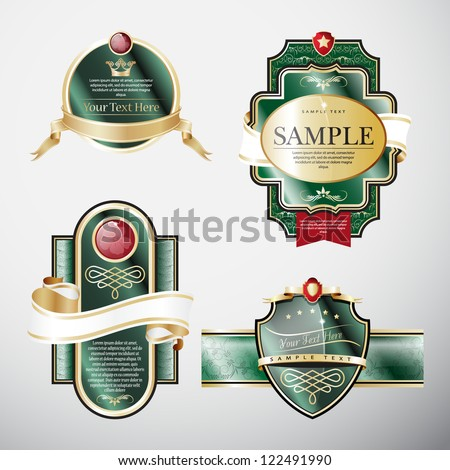 Set of green ornate labels with Gold and White Tapes. Grouped for easy editing. Perfect for labels or stickers for wine, beer, champagne, cognac, cologne and etc.