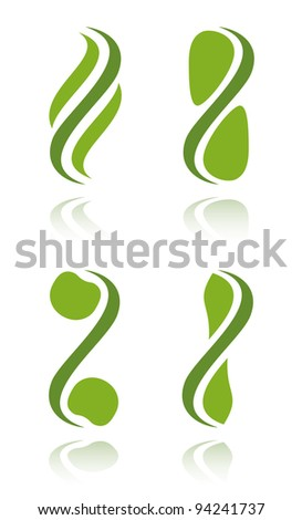 Set of green plant icons