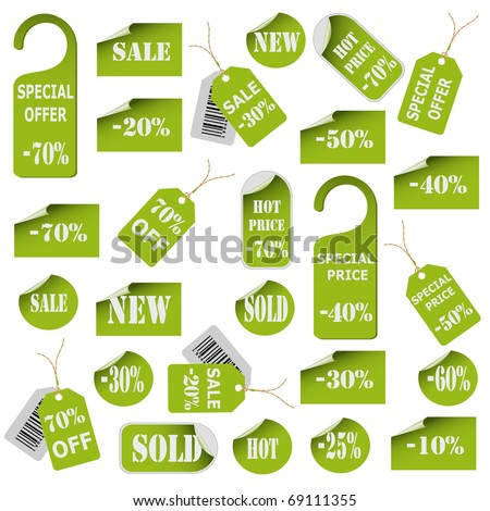 Set of green price tags and labels. Vector eps10 illustration