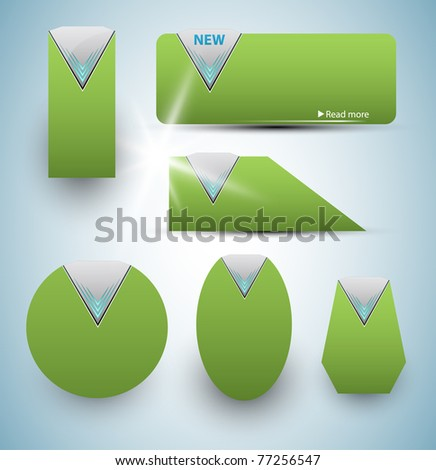 Set of green price tags | labels. Vector illustration.