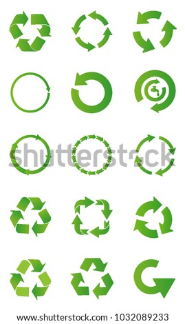 Set of Green recycle arrow isolate vector