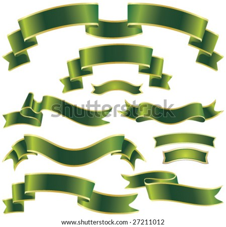 set of green ribbons - stock vector