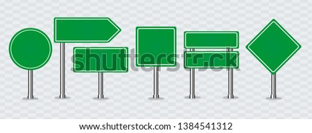 Set of green road signs. Blank traffic road, empty, warning, caution, attention, stop, safety, shape danger, boards street guide vector. #1384541312