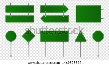 Set of green road signs. Blank traffic signs, highway boards, signpost and signboard. Realistic traffic signs isolated on transparent background. Vector