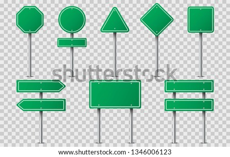 Set of green road signs on transparent background. Blank traffic road empty sign. Mock up template for your design. Vector illustration