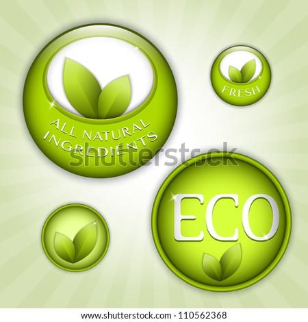 Set of green round signs. Eco, green and natural ingredients
