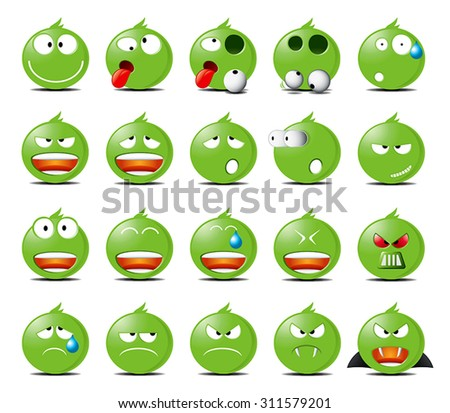 set of green rounded icons in