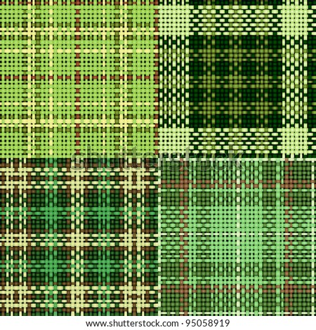 Set of green seamless swatches of rough cotton fabric with plaid for St. Patrick's Day