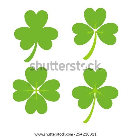 Set of Green Shamrock Symbols Vector illustration. Design for St. Patrick's Day