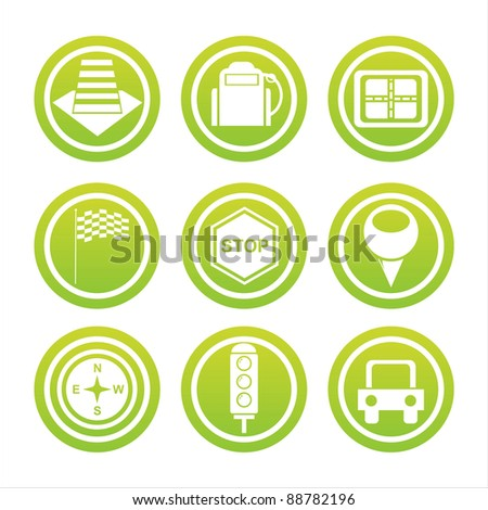 set of 9 green traffic signs