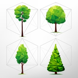 SET of green trees. Tree abstract isolated on a white background (illustration of a many triangles)