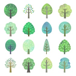 Set of green trees, watercolor style