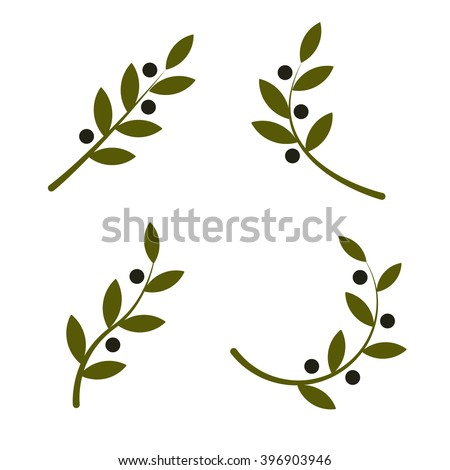 set of green vector olive