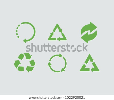 Set of green vector recycle icon. Recycle vector collection
