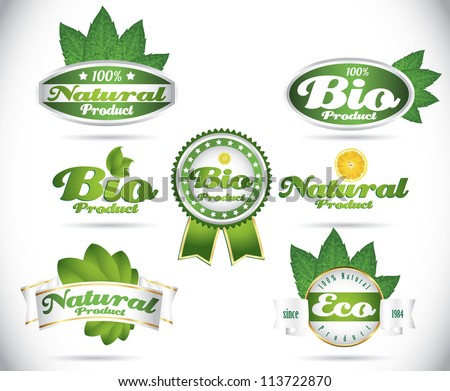 set of green vintage bio eco organic retro labels