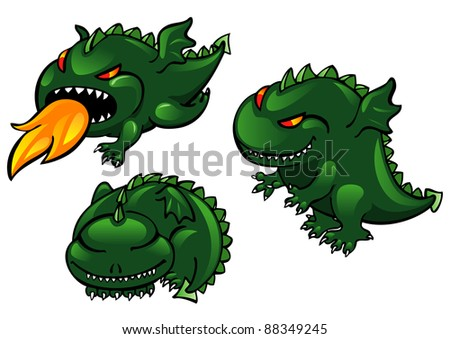 Set of greens cartoon dragons