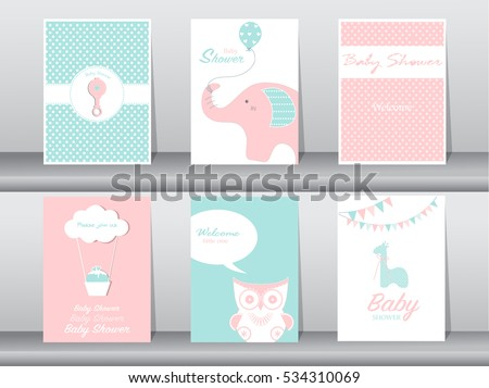 Free baby shower owl vector download free vector art stock set of greeting and invitation card birthday holiday animals owl elephant stopboris Choice Image