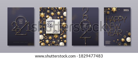 Set of greeting card with golden 2021 New Year logo. New year golden sign, Background with Christmas decor. Vector illustration. Holiday design for greeting card, invitation, cover, calendar, etc.