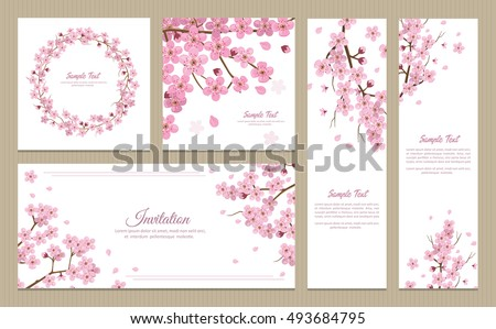 set of greeting cards  banners