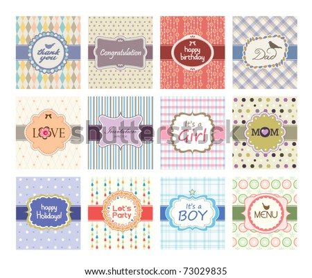 set of greeting cards design