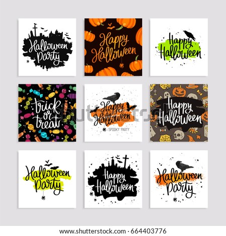 Set of greeting cards for Happy Halloween. Vector illustration. Lettering and calligraphy.
