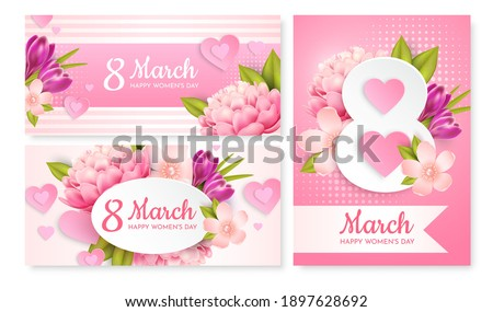 set of greeting cards for march