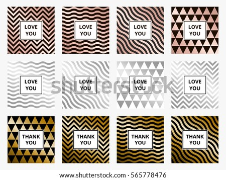 stock-vector-set-of-greeting-cards-geometric-abstract-rose-golden-and-silver-metallic-vector-backgrounds