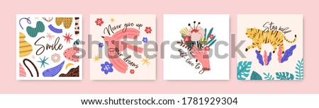 Set of greeting cards with motivational phrases and elements vector flat illustration. Collection of postcards decorated with handwritten quote and animal, female arm with flower, bird