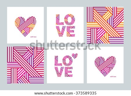 Set of greeting cards with Valentine\'s Day, Mother\'s Day, International Women\'s Day, birthday, wedding. Abstract hearts. Abstract seamless pattern. Love. Postcard. Congratulation. Vector.