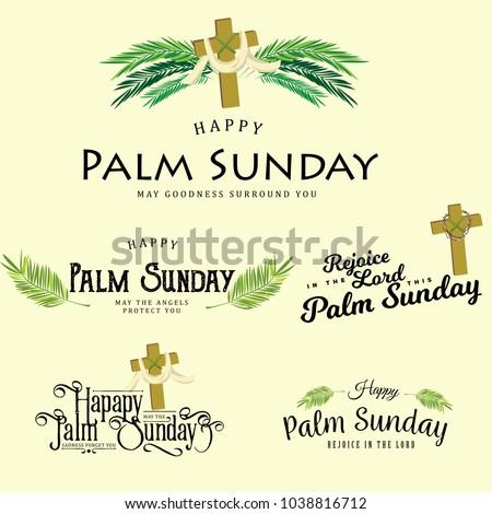 Shutterstock puzzlepix set of greeting logos for religion holiday palm sunday before easter cards for celebration entrance of jesus into jerusalem vector illustration m4hsunfo