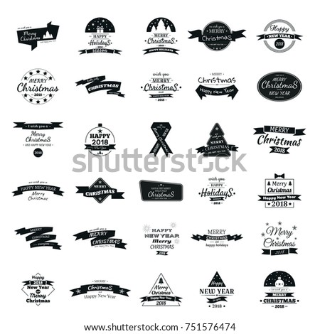Set of 30 greeting logos with New Year and Christmas 2018. Black and white logos, lettering of Christmas greetings.