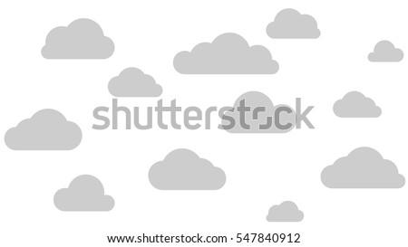 set of grey clouds  flat