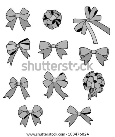 Set of grey ribbon bows
