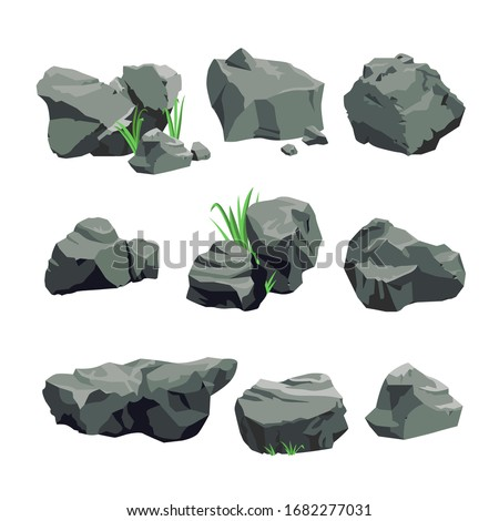 set of grey stones isolated on