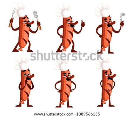 Set of grill sausage character design. Sausage mascot holds kitchen tools. The concept of a cook. Cartoon style. Vector illustration isolated on white background. Web site page and mobile app design.