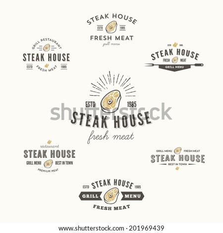Set of grill steak labels, badges and design elements, looks similar to logo