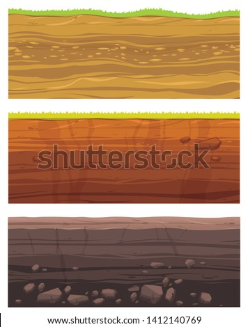 Set of grounds layers. Illustration of cross section of ground  with layered dirt clay, ground layer with stones and grass on dirts cliff texture. Archeology landscape cartoon vector.