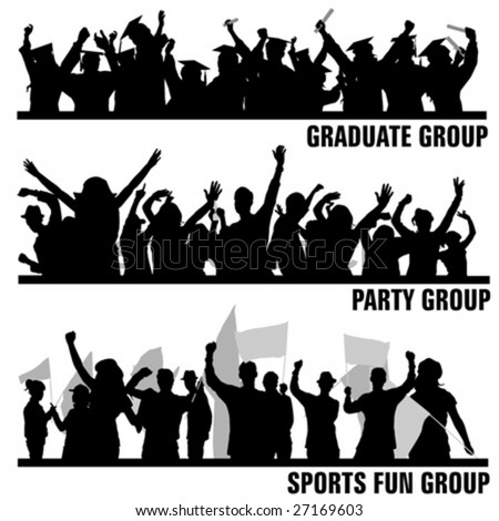 set of group peoples vector - stock vector
