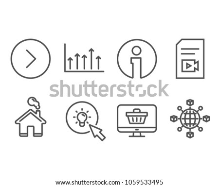 Set of Growth chart, Energy and Web shop icons. Video file, Forward and Logistics network signs. Upper arrows, Turn on the light, Shopping cart. Vlog page, Next direction, International tracking