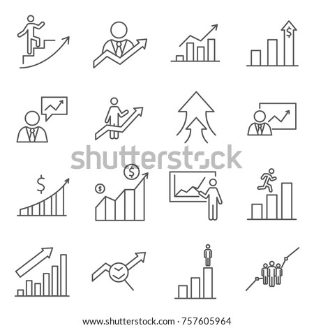 Set of growth Related Vector Line Icons. Includes such Icons as personal growth, development, training, businessman, success and etc.