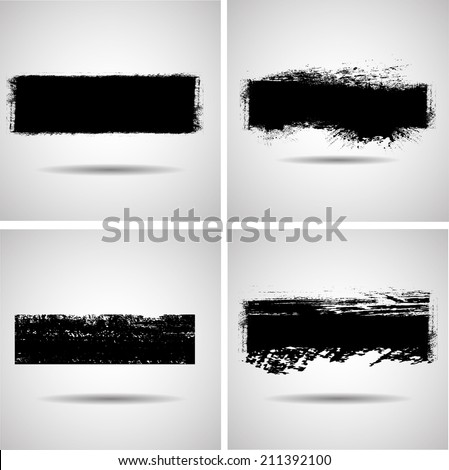Set of grunge banner. Vector illustration.