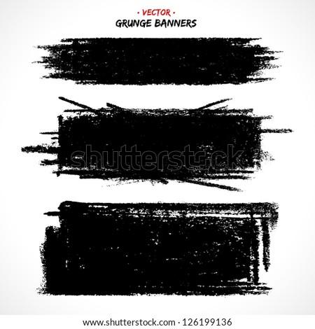 Set of grunge banners. Grunge brushes. Retro background. Vintage background. Design elements. Abstract background. Hand drawn. Texture background. Abstract shape
