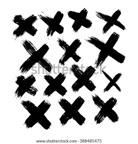set of 14 grunge black abstract