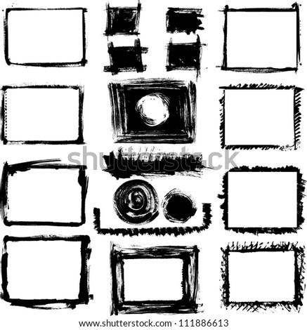Set of grunge black and white hand drawn frames