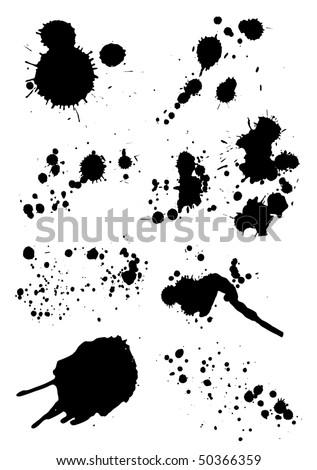 set of grunge blots