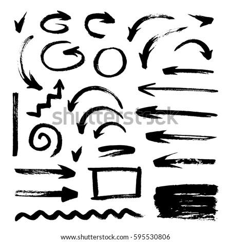 Set of grunge brush strokes, arrows on white background