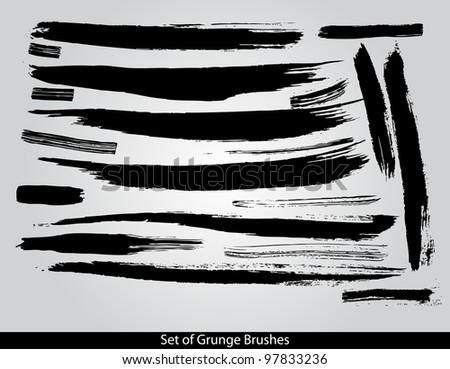 Set of grunge brushes vector illustration