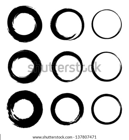 Set of Grunge Circle Stains, vector illustration